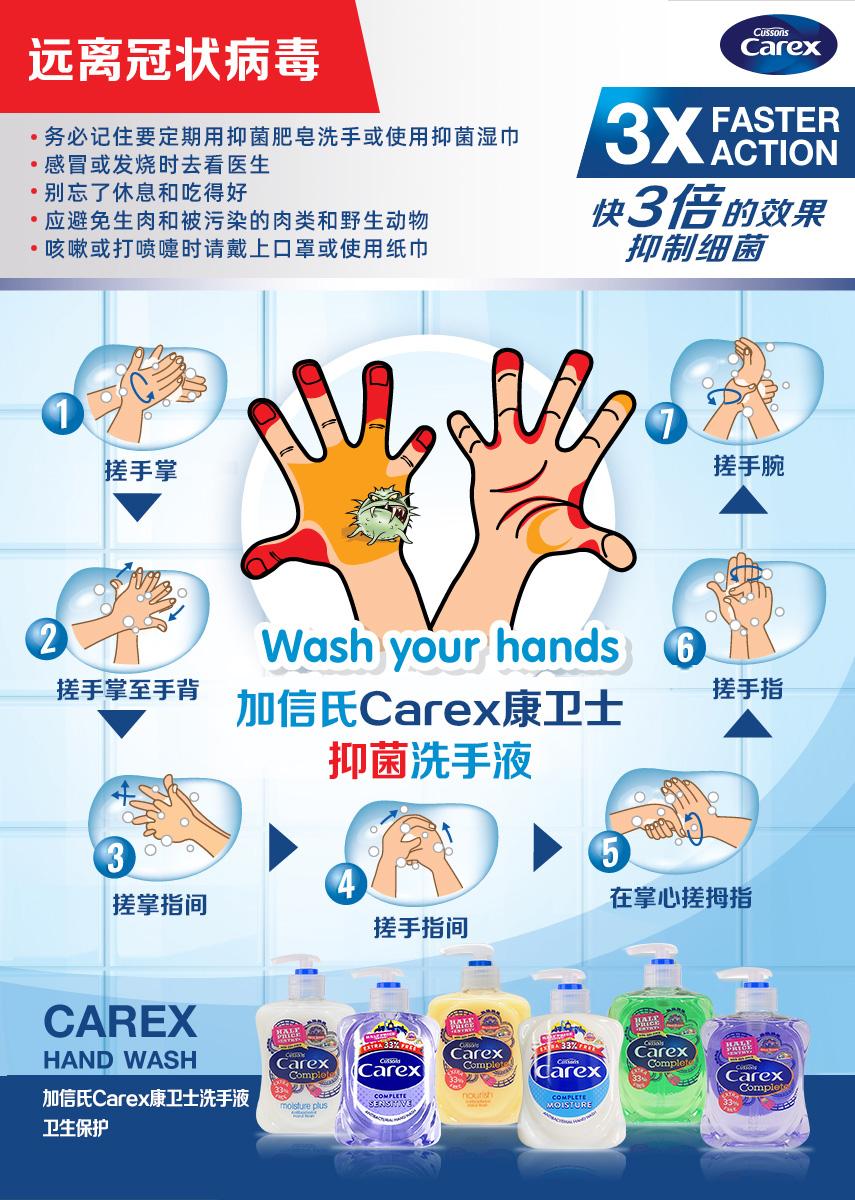 加信氏康卫士洗手液温馨提示:做好防护,远离新冠状病毒